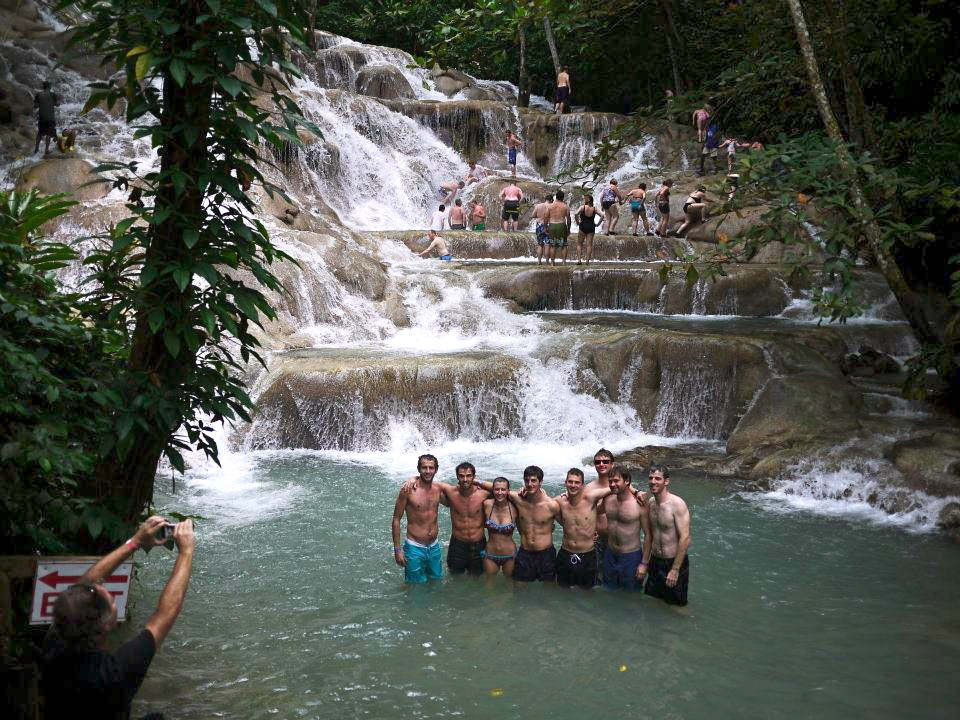 Getting a group shot while climbing Dunn's River Falls