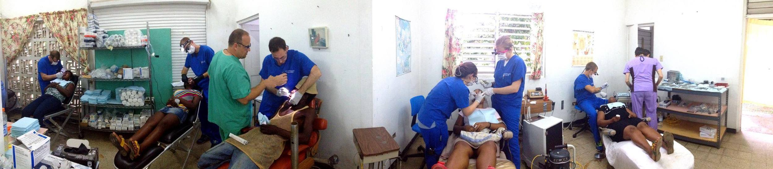 Pano of Group 2 working inside Long Pond Clinic