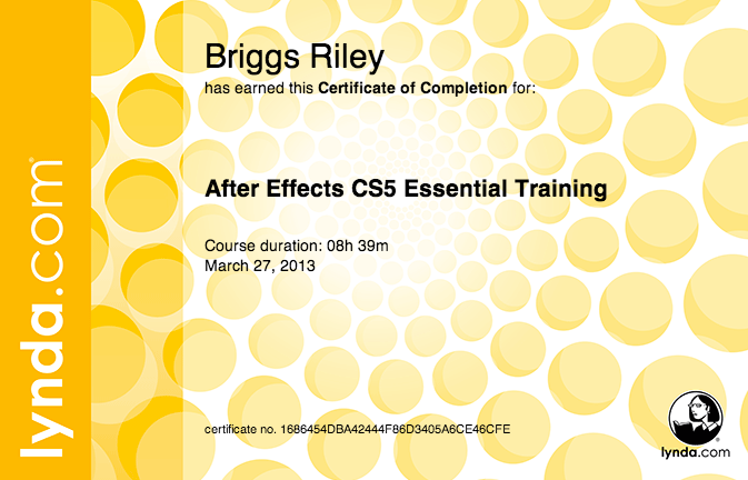 After Effects Training Certificate for Riley Briggs