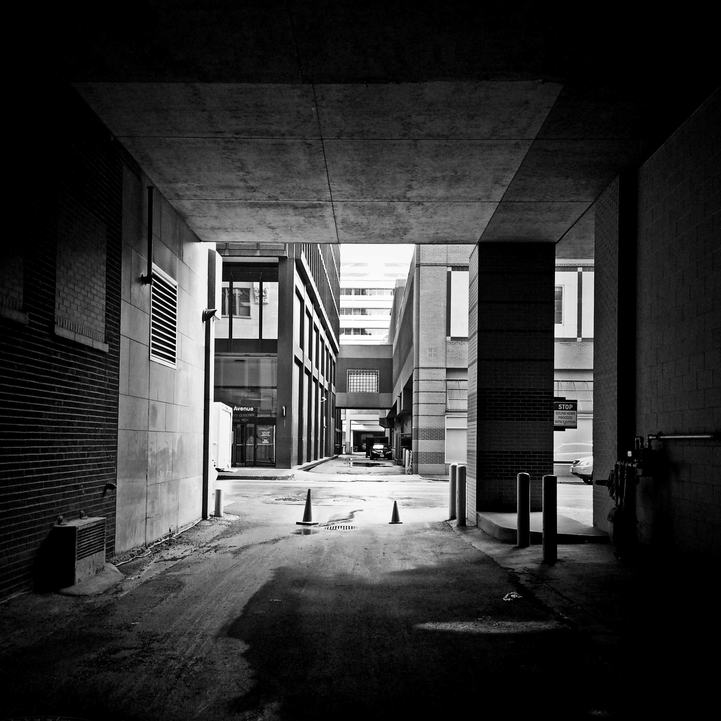 Alleyway in black and white