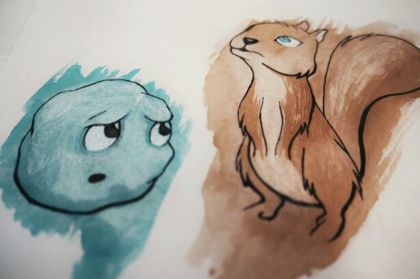 Squirrel and Snowball illustration with watercolor