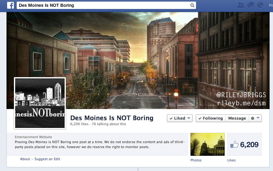 My cover photo on  Des Moines Is NOT Boring's Facebook page
