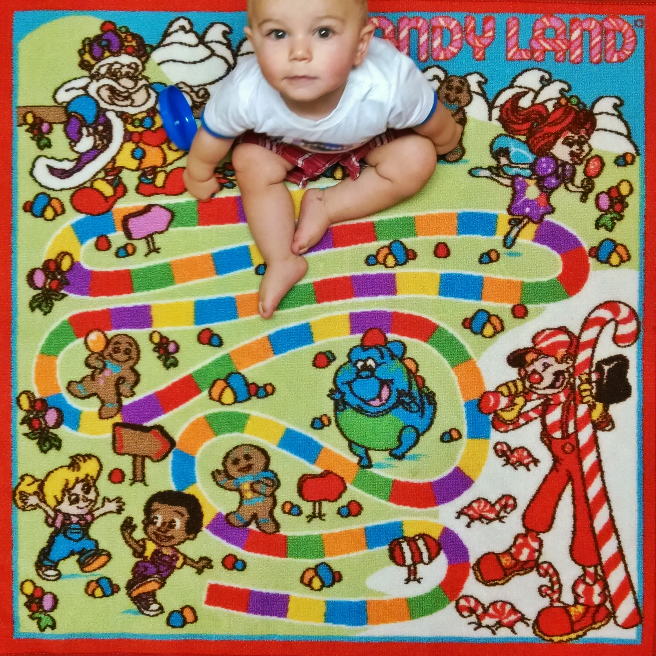 My wife got this Candy Land rug for a quarter at a garage sale!