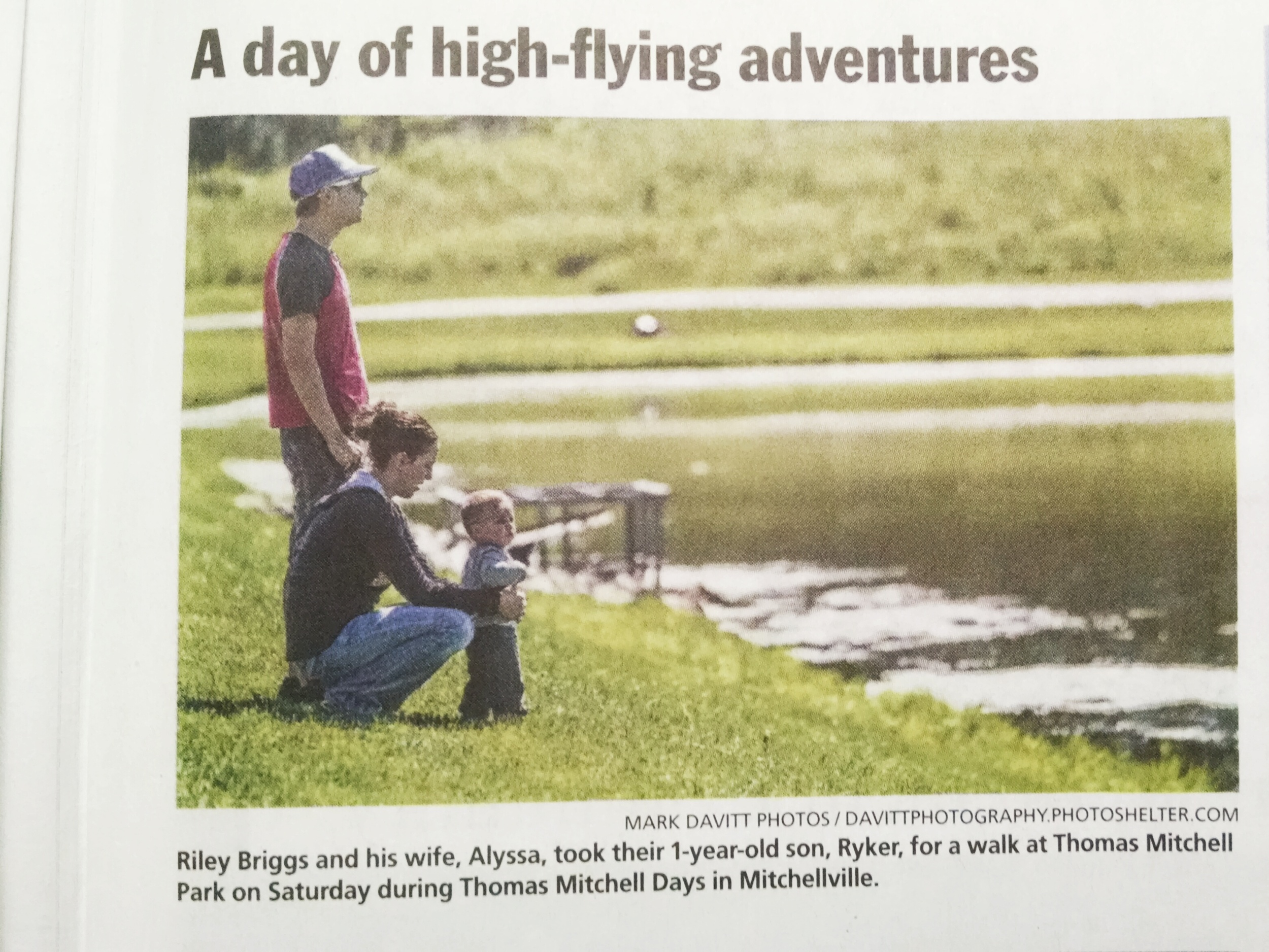 Riley Briggs and his wife, Alyssa, took their 1-year-old son, Ryker, for a walk at Thomas Mitchell Park on Saturday during Thomas Mitchell Days in Mitchellville.