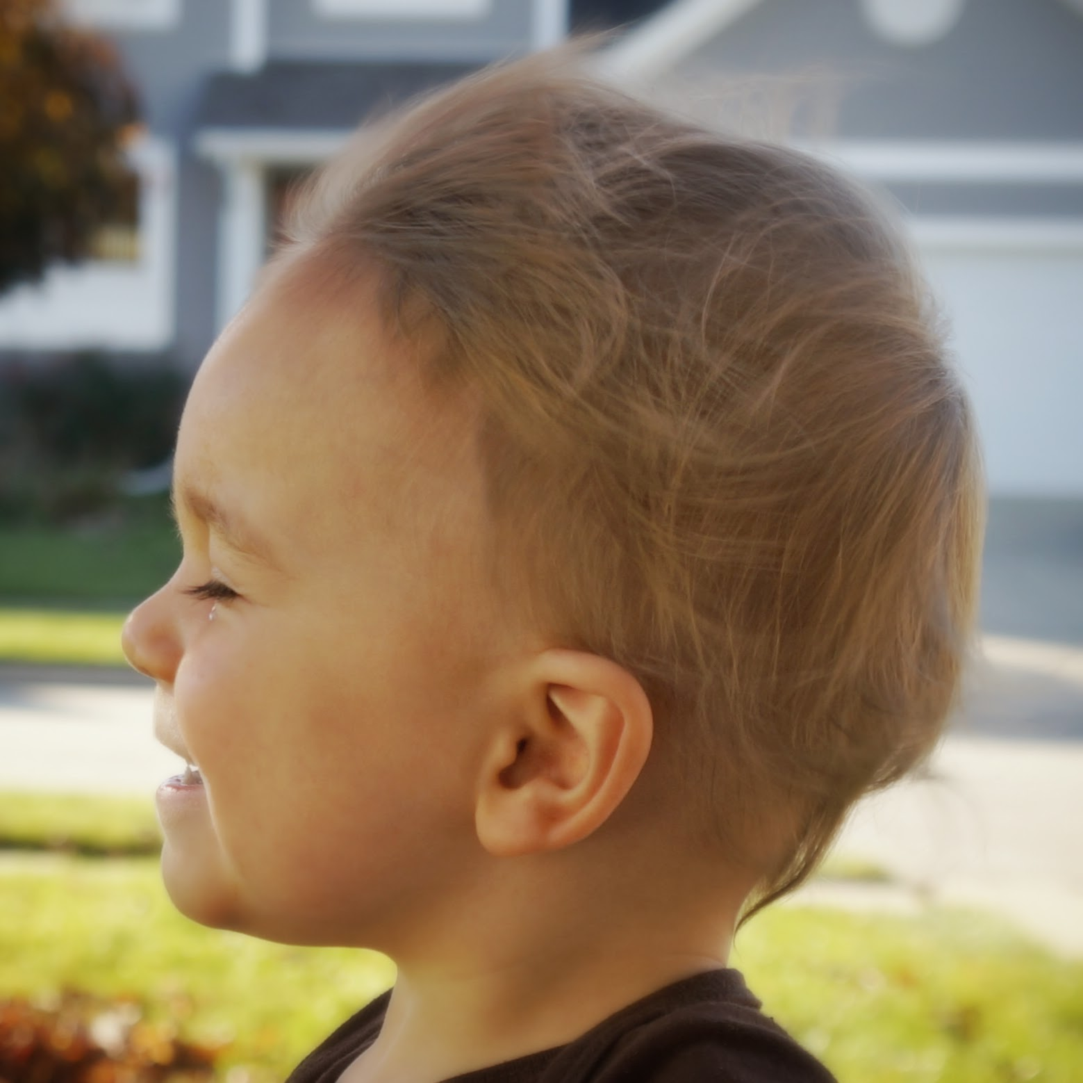 Ryker's hair blowing in the wind