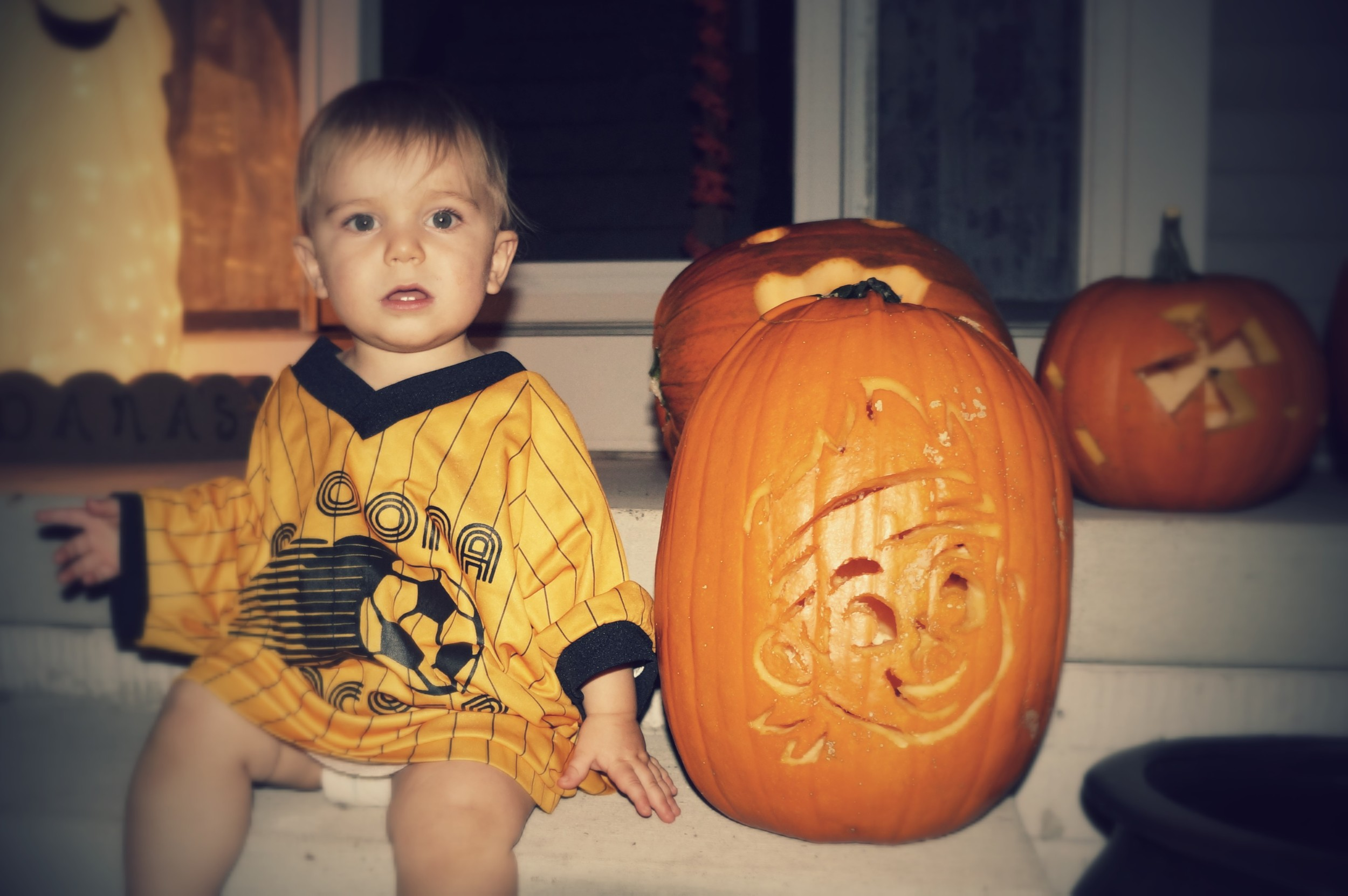 Ryker with his Jake and the Neverland Pirates pumpkin