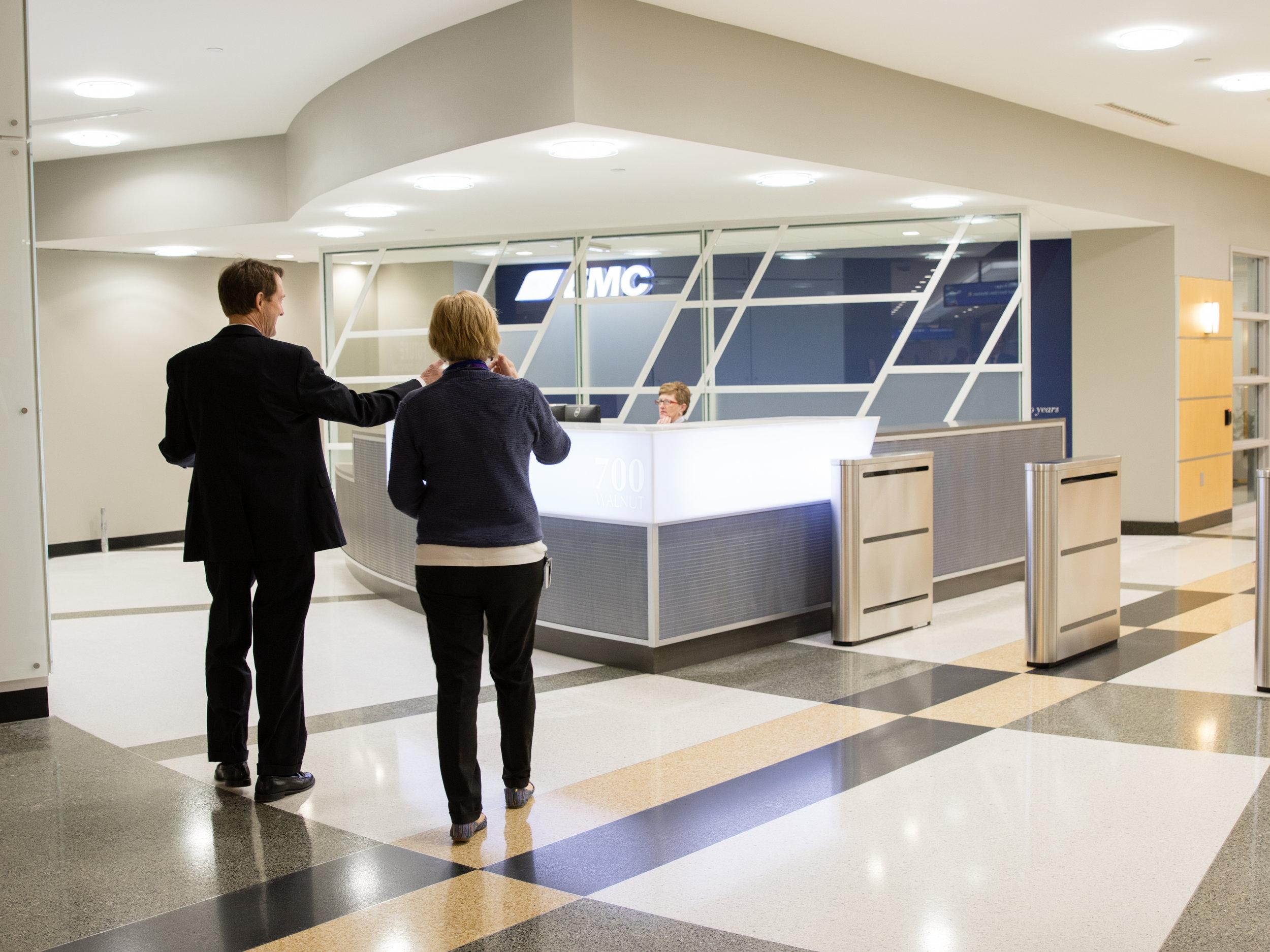 EMC's new skywalk reception area