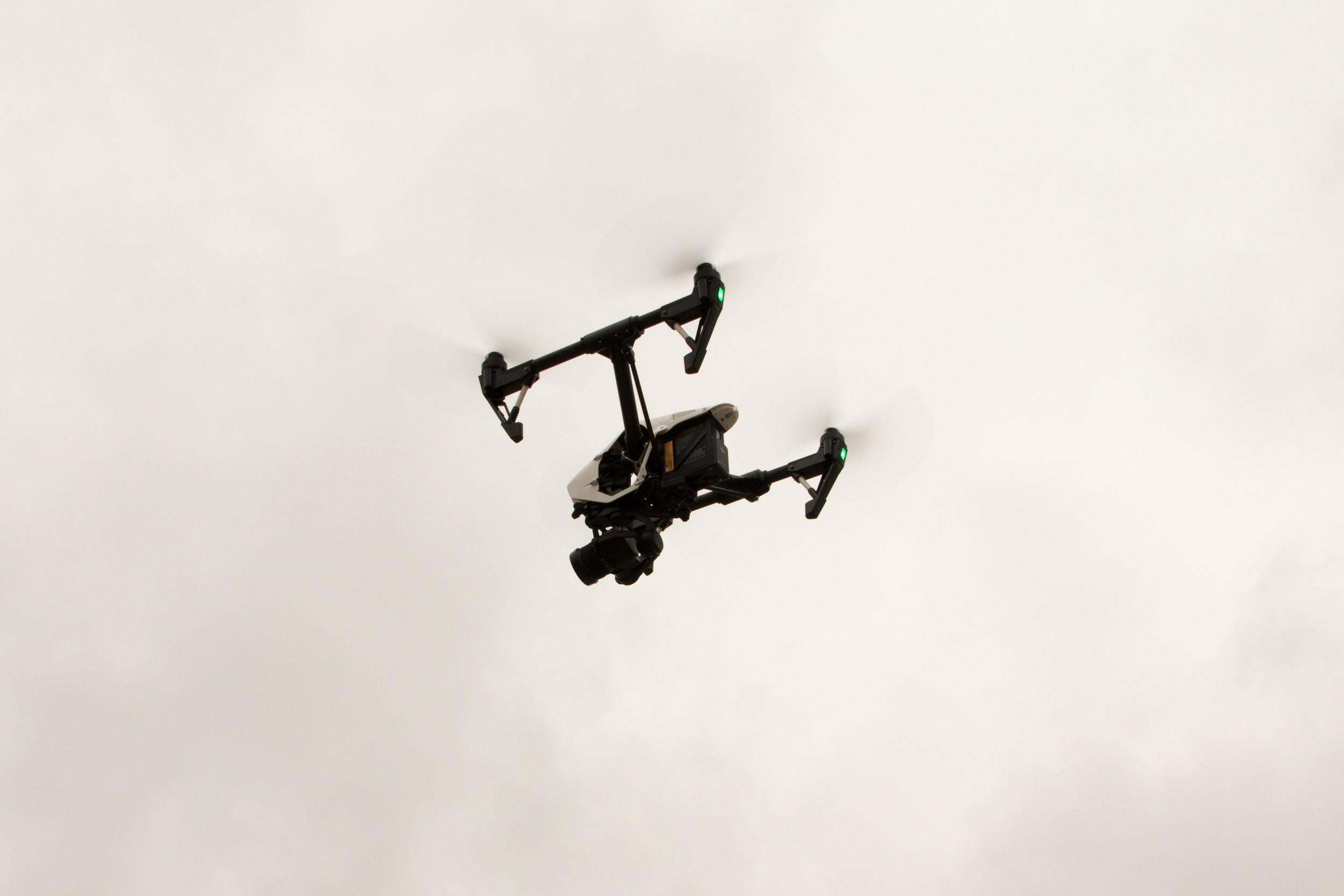quadcopter mid-flight