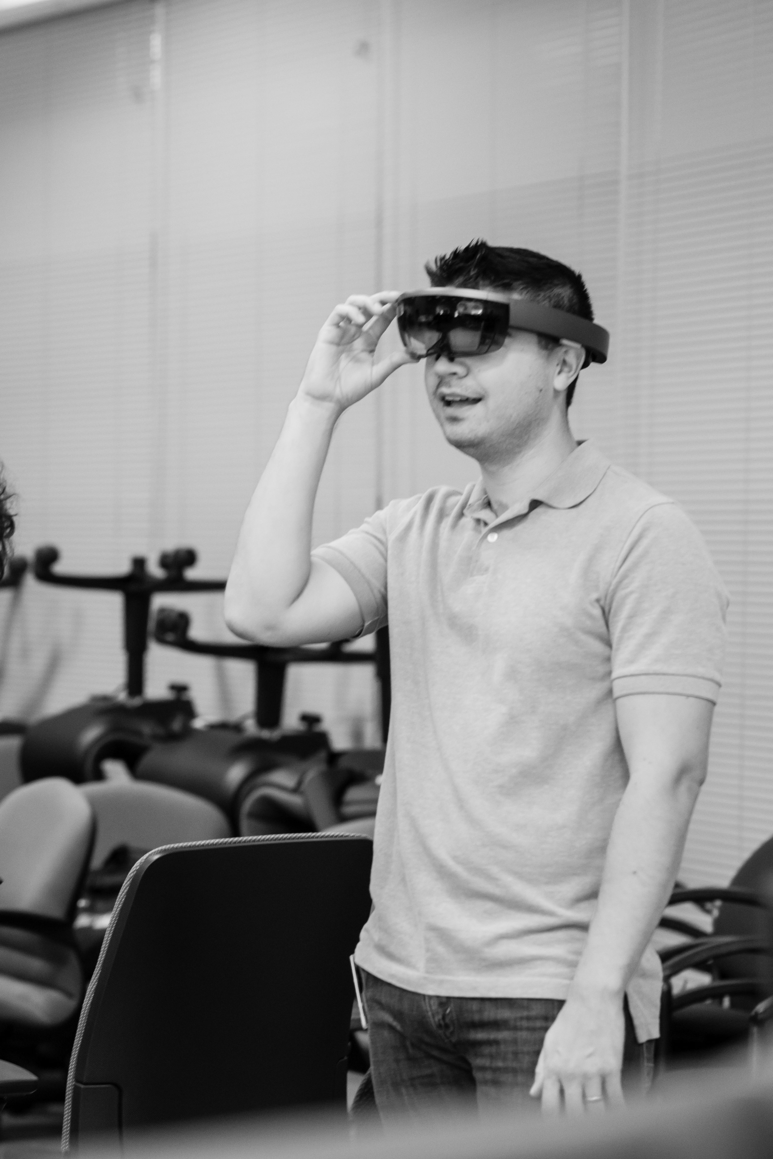 Me trying out Hololens at EMC's Innovation Lab