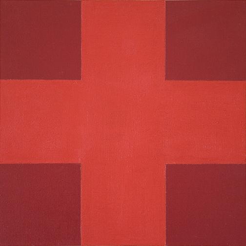 paul sunday, cadmium cross on red devil 12x12