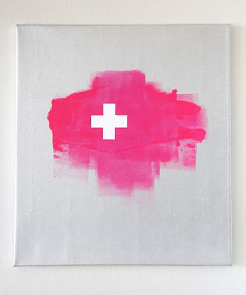 cross on pink blob 18x20