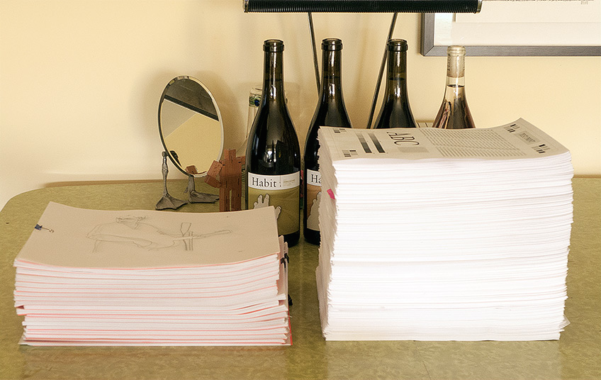 12 POUNDS 14 OUNCES OF TRACING PAPER, 20 POUNDS 5 OUNCES OF TRACED PAPER. BEFORE A QUARTET OF HABIT WINE.