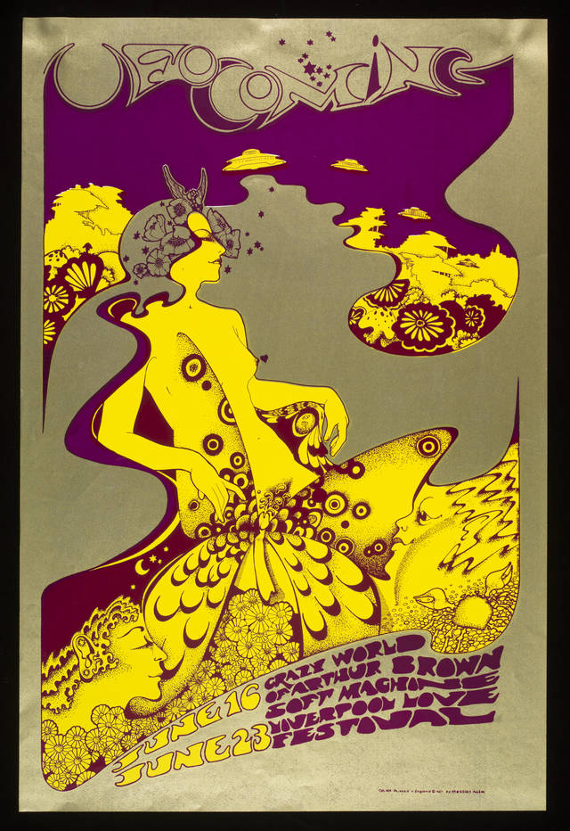 Poster for The Crazy World of Arthur Brown at UFO, 16 and 23 June, by Hapshash and the Coloured Coat, 1967, London (Michael English & Nigel Waymouth). Photograph © Victoria and Albert Museum, London