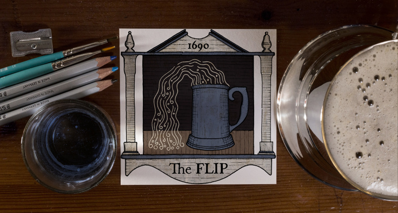 The Flip (Late 1600s)  In Colonial days, the literacy rate amongst white men was about 60%. Factor in the large part of the population that this number excludes and it's no wonder signs were primarily pictorial. The image here draws upon signs from Colonial Williamsburg as well as images from the book  Old Tavern Signs  by Fritz Endell.