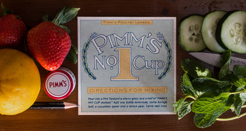 Pimm's Cup (1850s)  The Pimm's label is iconic and rightfully so. It has remained relatively unchanged since the 1920's. However, the company tried a couple different labels before settling on this one.  Alia Campbell , archivist at Diageo, was kind enough to provide some examples for me. My design is inspired by labels from the early 1900s that featured borage leaves, the key part of a proper Pimm's garnish.