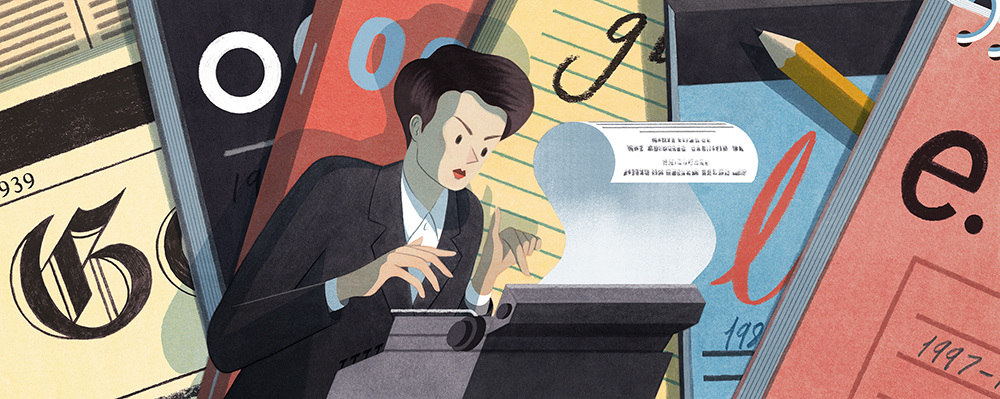 A doodle for Google of Clare Hollingworth, on the occasion of her 106th birthday.