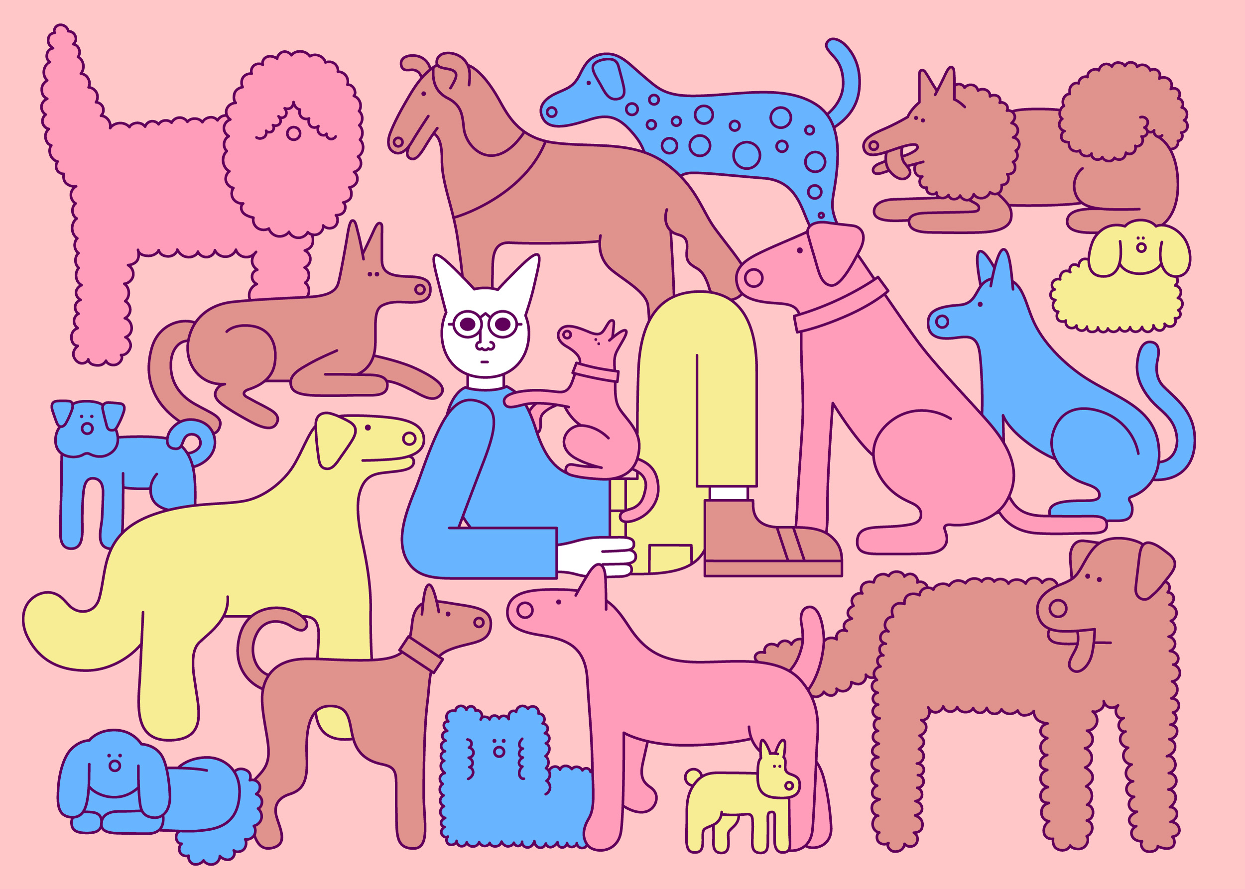 Catman with Dogs