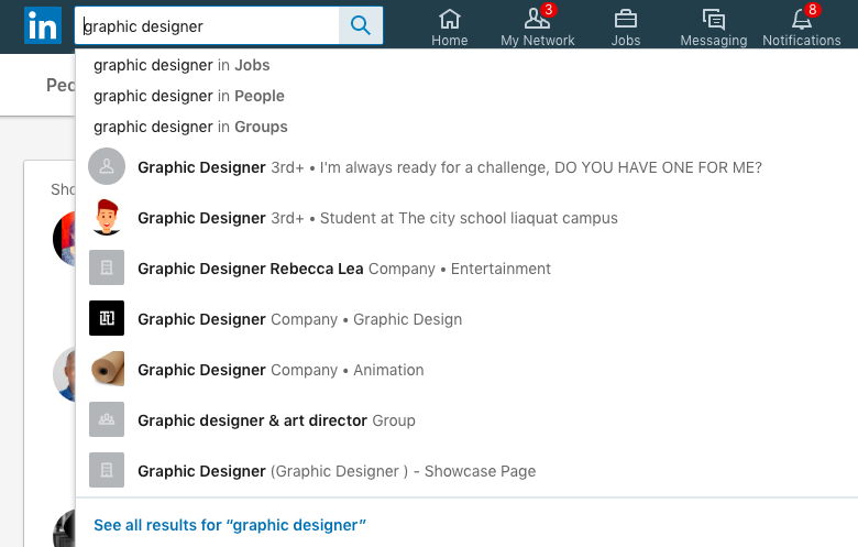"Screenshot of a LinkedIn search for ""graphic designer""."