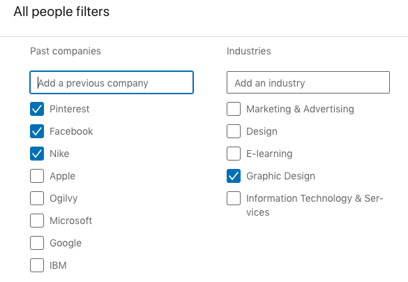 "A sample of a search in LinkedIn for ""graphic designer"" with the filters: ""past companies"" to include ""Pinterest"", ""Facebook"", and ""Nike""."