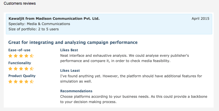 Customer Reviews: Great for integrating and analyzing campaign performance.