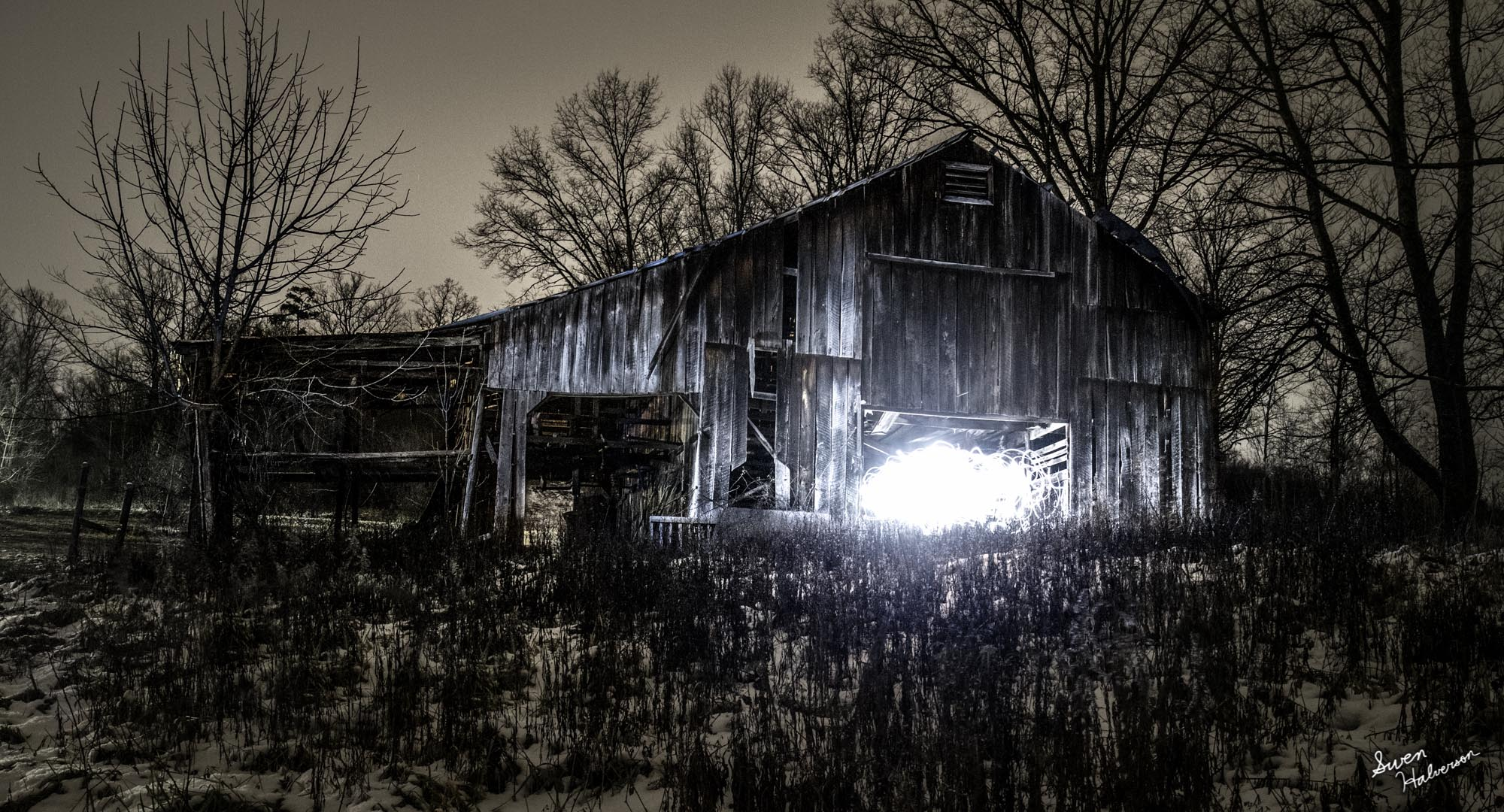 Theme: Light Painting Title: Wisps In The Barn