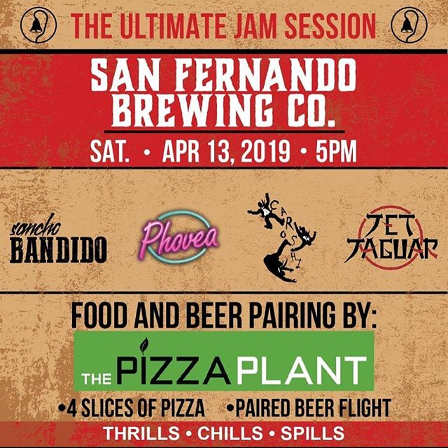 Saturday 4/13 join us for the re-release of the Jam Session I.P.A, pizza and beer pairing, all while enjoying bands performing. A fun night out @sanfernandobrewingco #seeyouthen