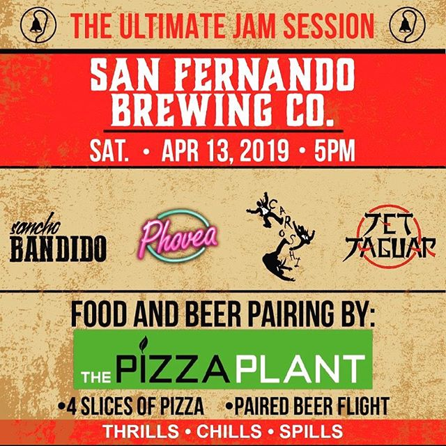 Don't forget! This Saturday, April 13, we are having The Ultimate Jam Session. With the release of the Jam Session I.P.A #pizzaplant will also be here for the first time pairing their pizza with our beer. And don't forget the live music jamming! Starts at 5pm #sanfernandobrewingco #jamsession #nightout