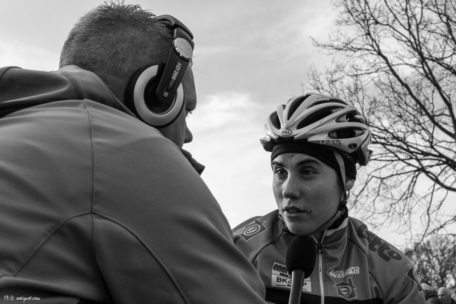 Sanne Cant (BEL) being interviewed by Belgian TV after Friday's practice at the 2014 CX World Championships.