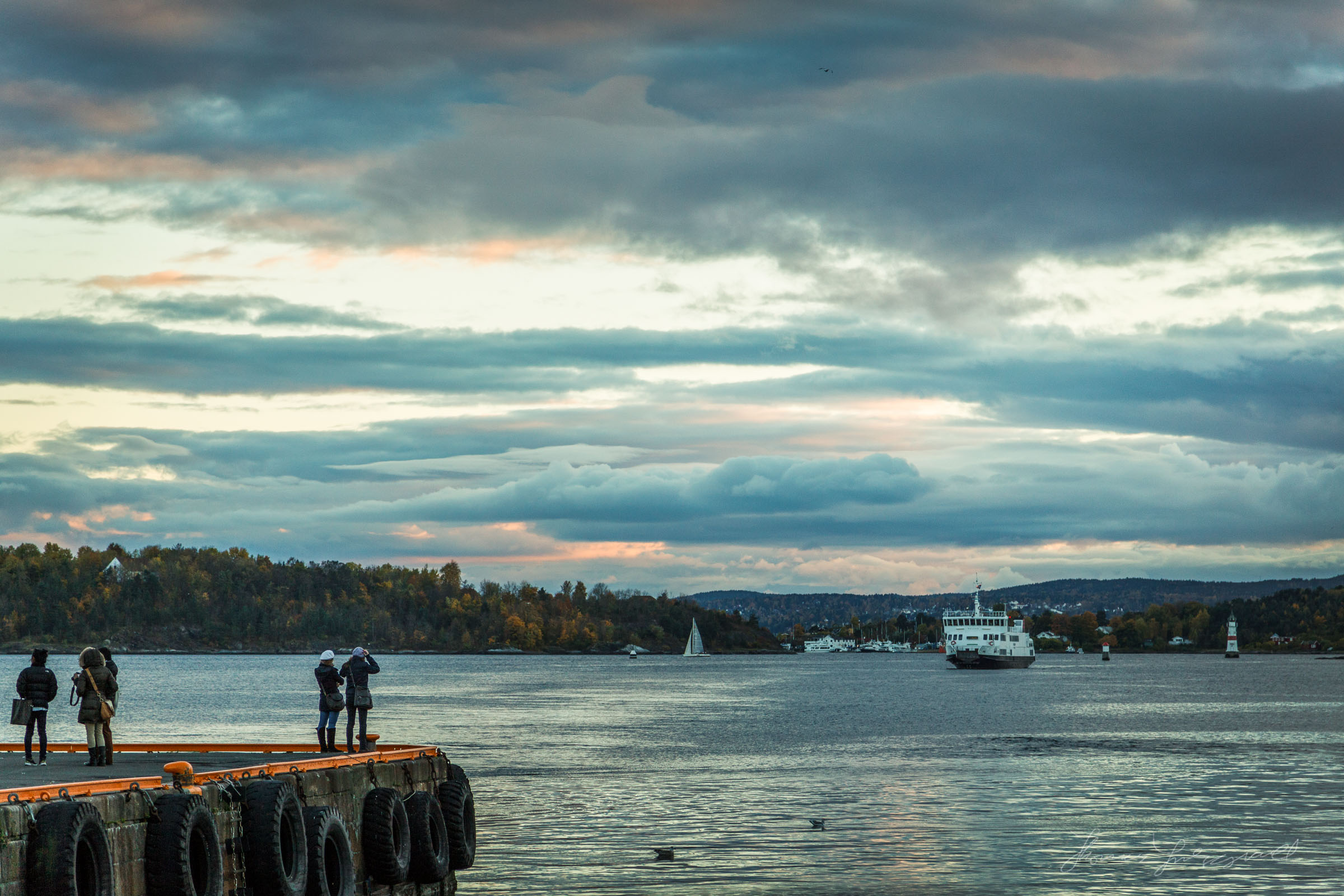 Ferry aproaching the harbour in Oslo, Norway