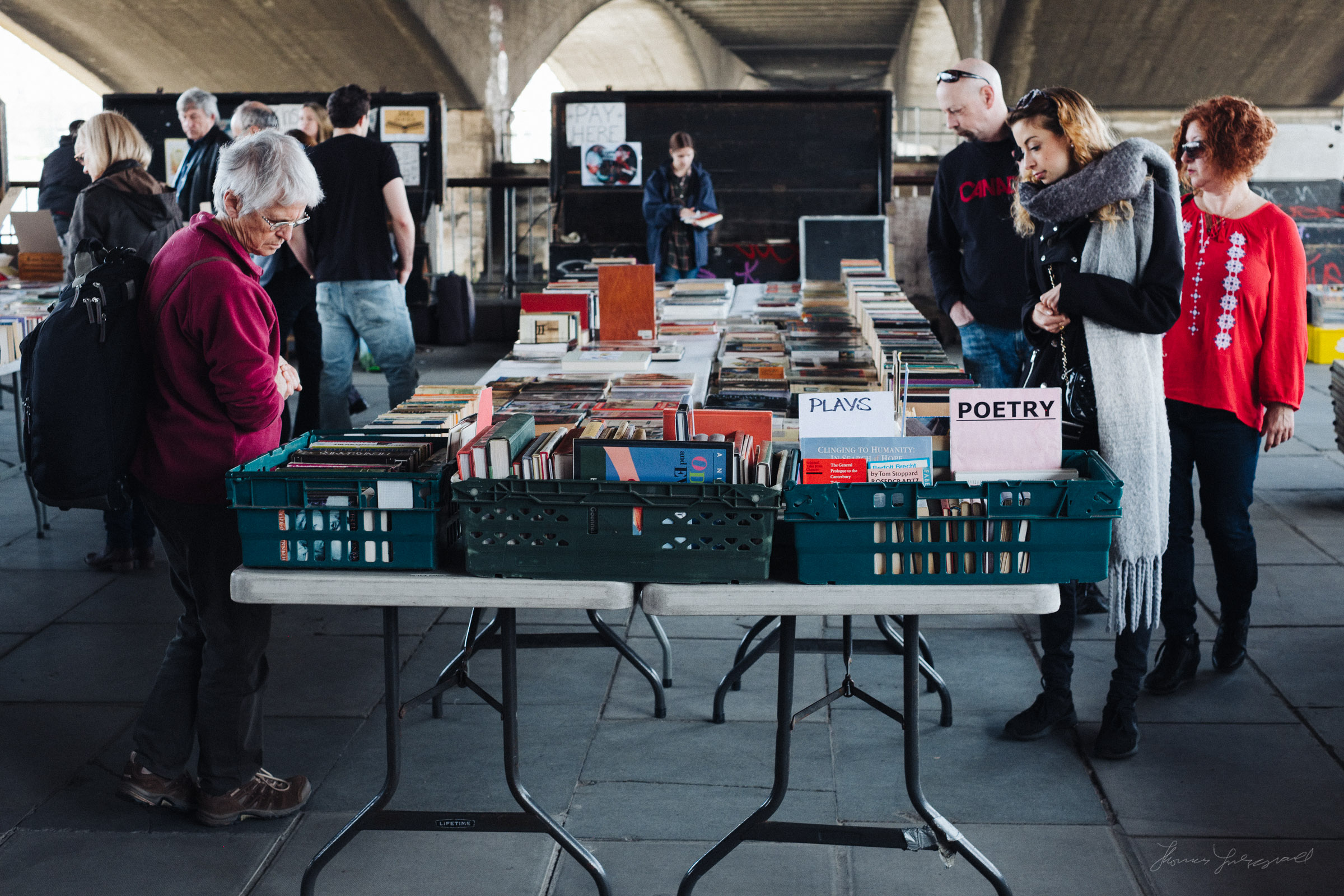 People browsing books in London's Southbank