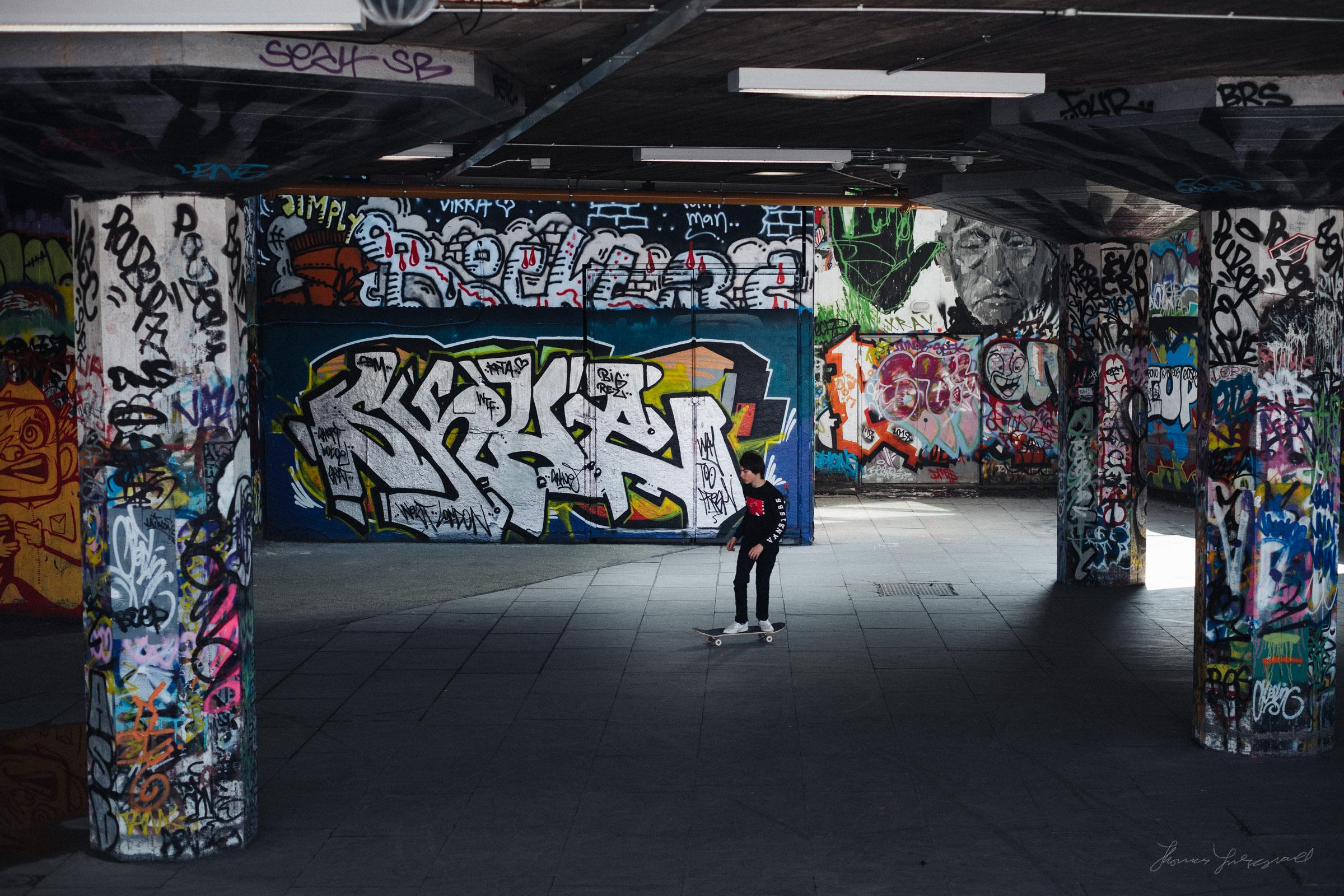 Skateboarding in the Southbank Skateboard park in London