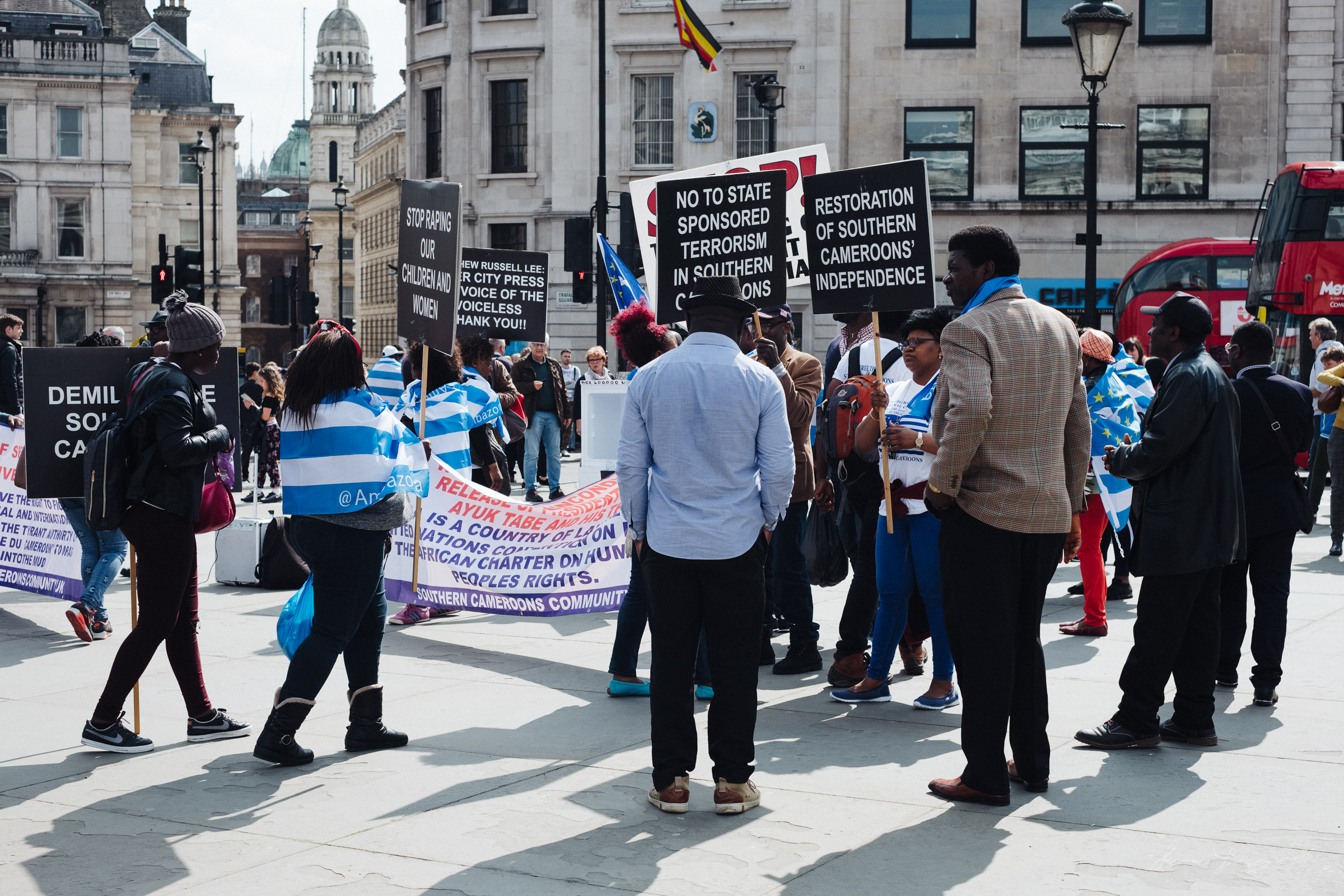 Protest in London at Picadilly circus