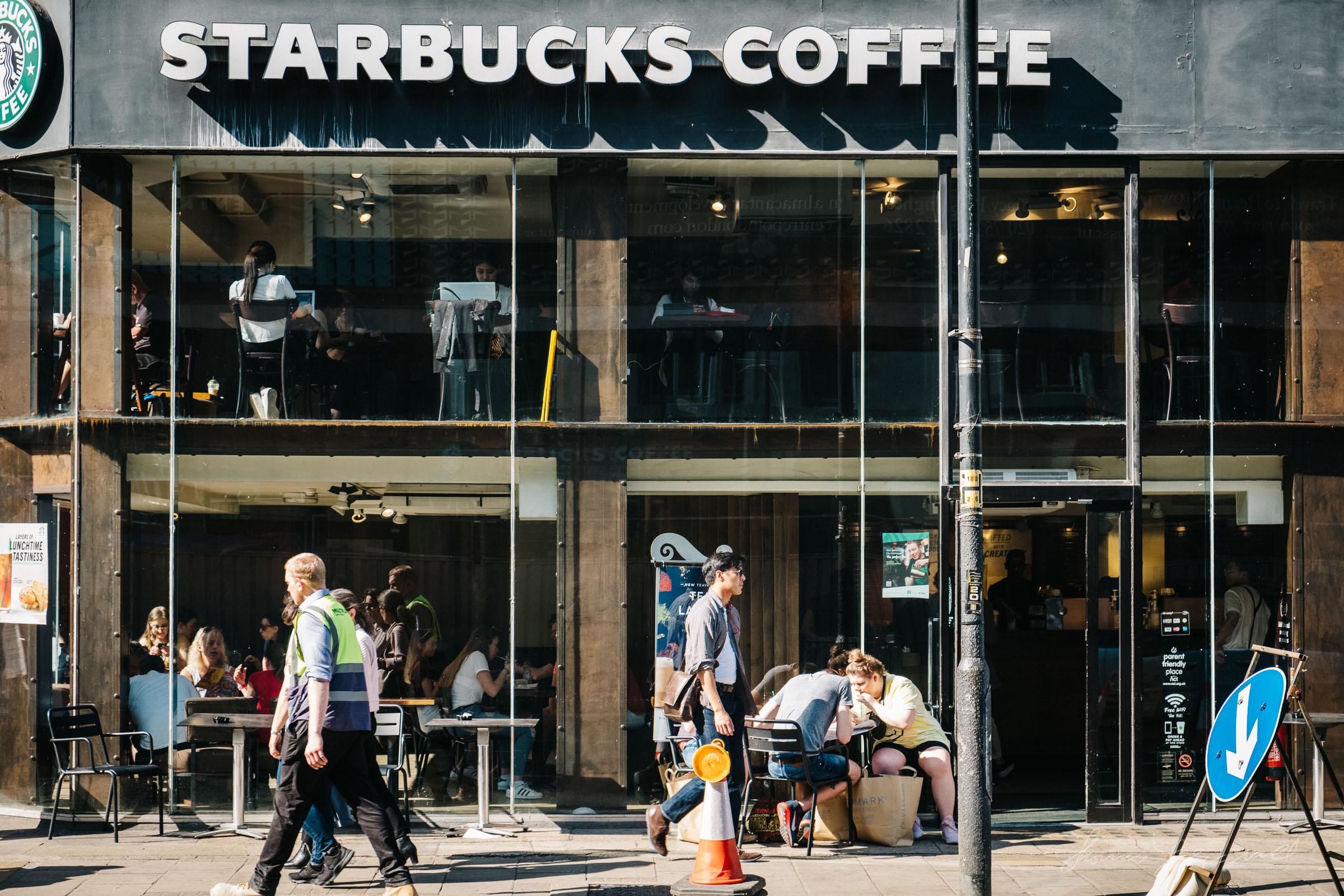 A busy Starbucks in London