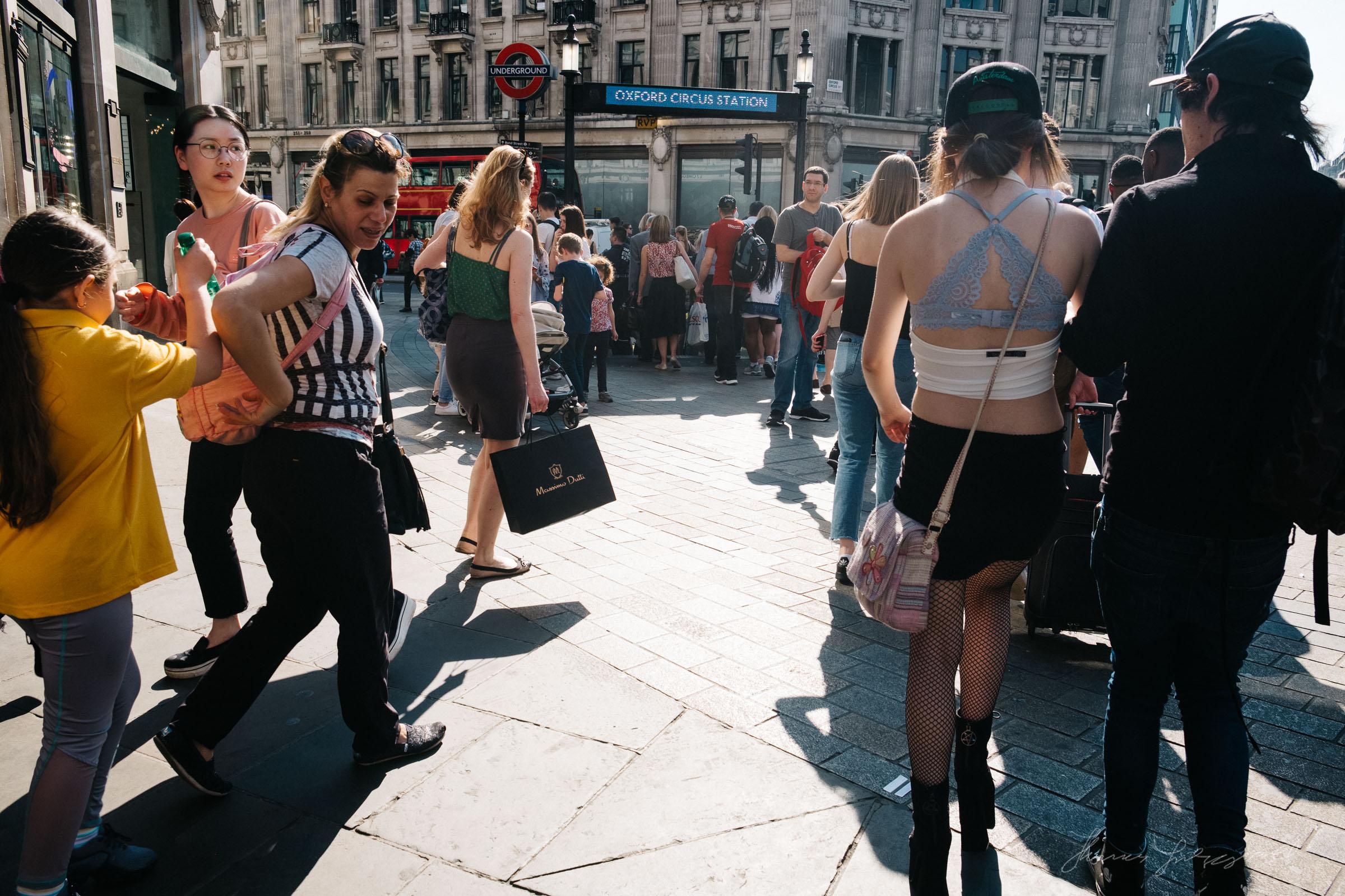 busy Pedestrians on London's Oxford Street