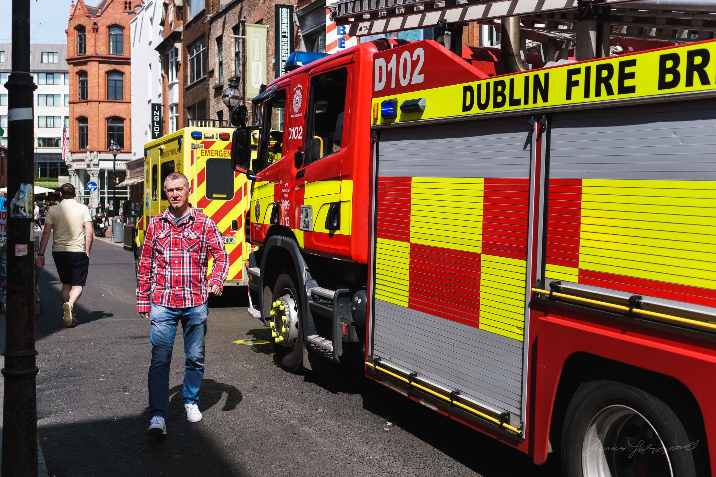 Fire brigade on a Dublin Street