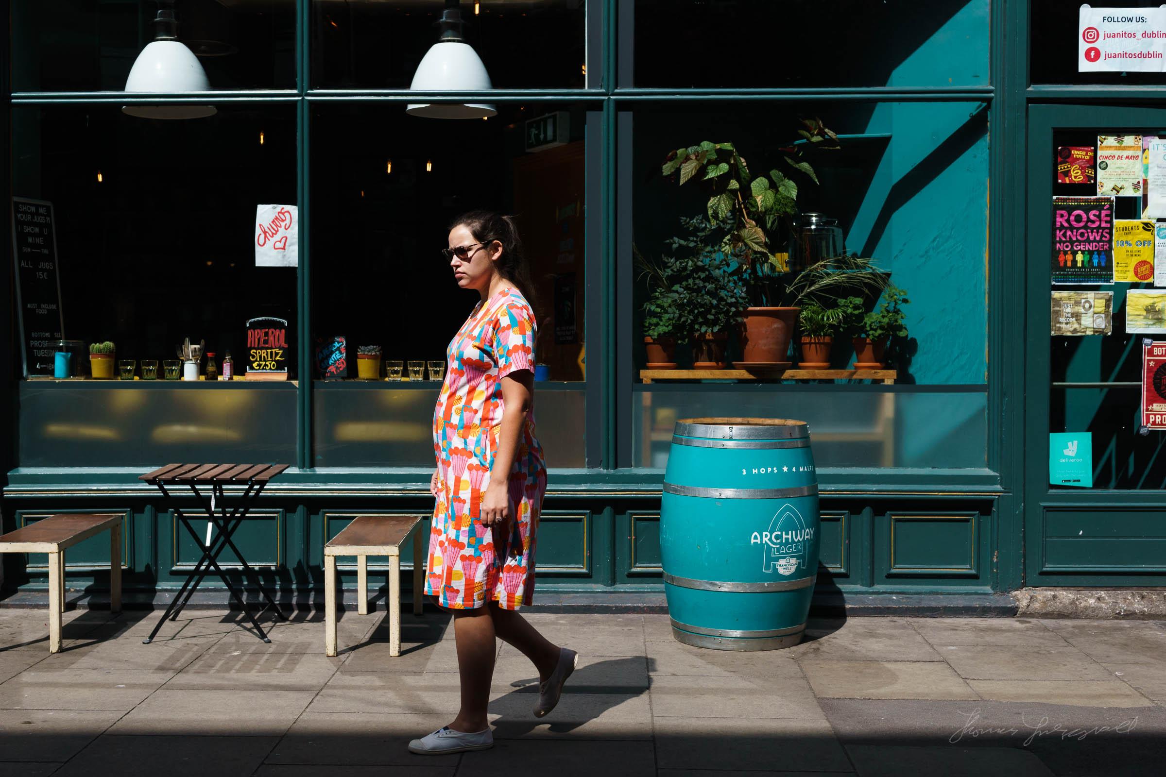 Woman in bright colour dress