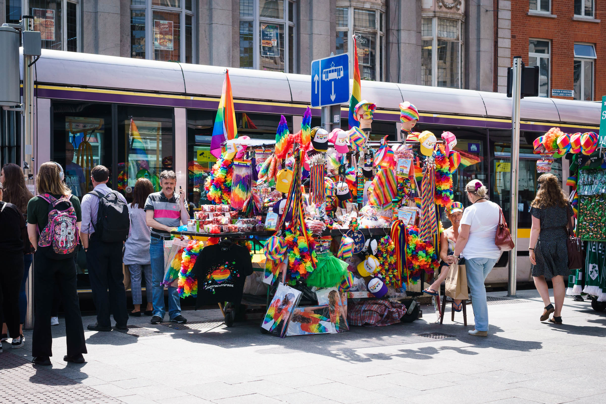 Vendors selling merchandise for the Pride Parade