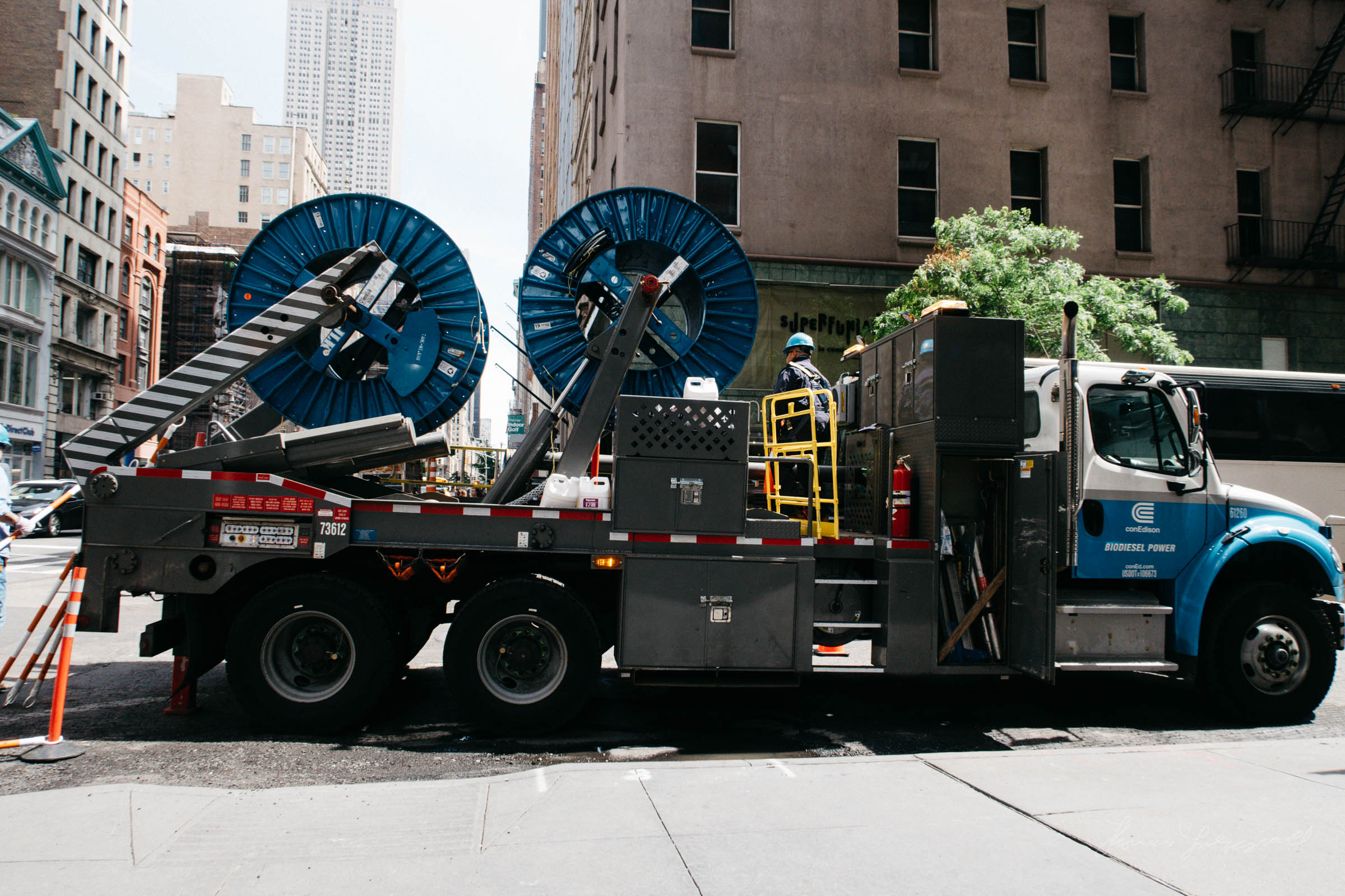 Con Ed Truck with Spools of Cable in NYC