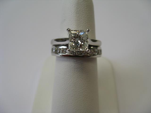 Wedding set on ring finger