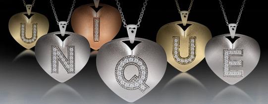 Unique initial heart pendants