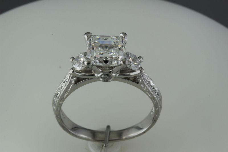 Princess cut diamond in platinum