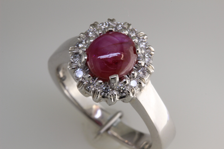 Six point star ruby ring made at Richard Dolgin