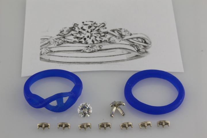 Wax model and diamonds