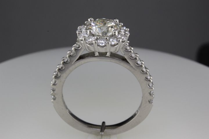Custom halo engagement ring - side view