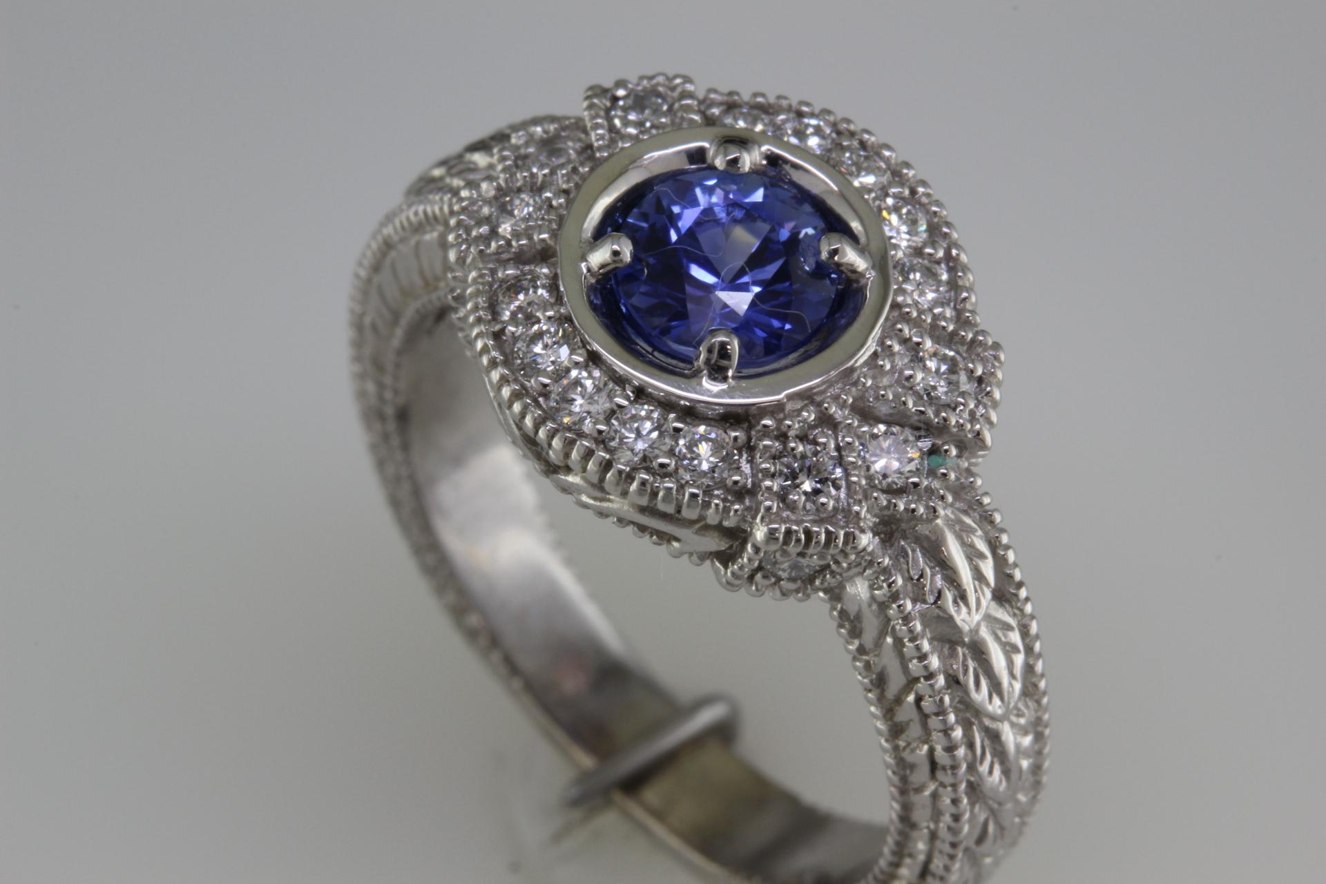 Sapphire and Diamond Antique Style.JPG