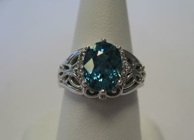 14k white gold and Blue Zircon ring, custom made at Richard Dolgin Private Jeweler