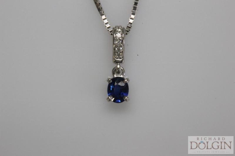 Blue Sapphire and Diamond Pendant