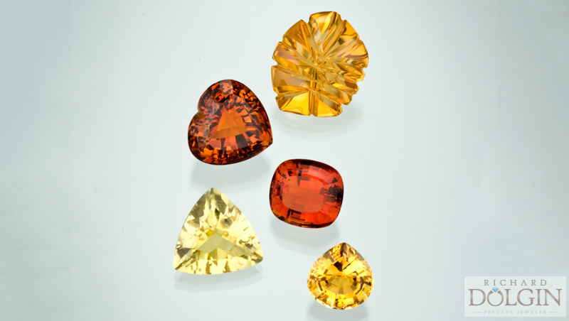 Citrine in a variety of colors.