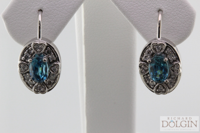 Blue zircon dangle earrings
