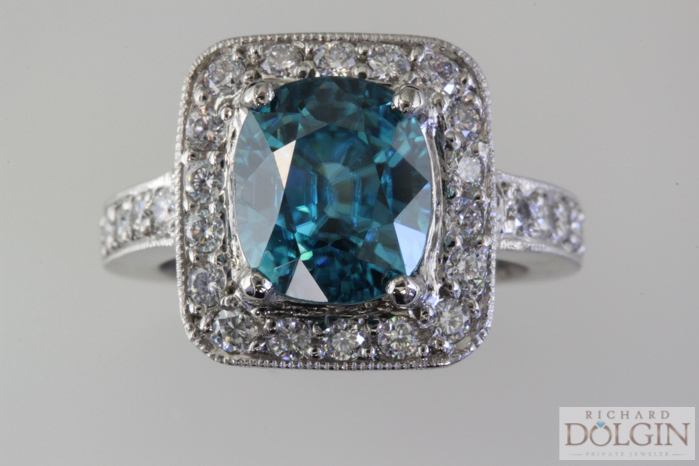 Elegant blue zircon ring